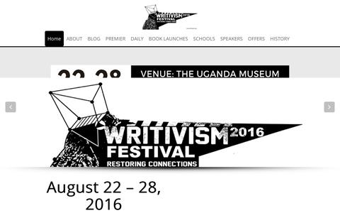 Screenshot of Home Page writivism.com - The Writivism Festival - Connecting Literature to Reality - captured Oct. 29, 2016