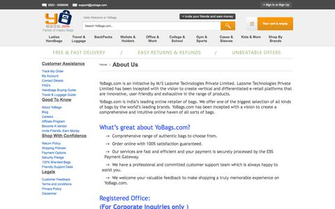 Screenshot of About Page yobags.com - About Us - captured Oct. 2, 2014