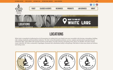 Screenshot of Locations Page whitelabs.com - Locations   White Labs - captured Nov. 8, 2018