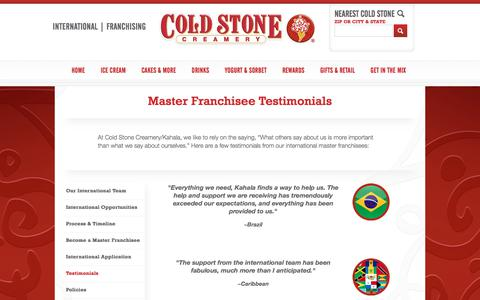 Screenshot of Testimonials Page coldstonecreamery.com - Testimonials - captured July 20, 2018