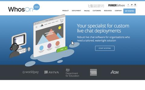 Screenshot of Home Page whoson.com - Live Chat Software For Websites | WhosOn - captured July 15, 2019