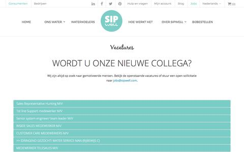 Screenshot of Jobs Page sipwell.com - Vacatures | SipWell - captured Oct. 27, 2017