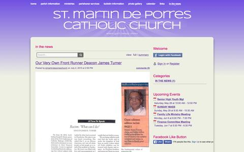 Screenshot of Press Page stmartindeporrescatholic.org - in the news - St. Martin de Porres Catholic Church - captured May 22, 2016
