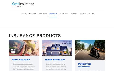 Screenshot of Products Page savewithcote.com - Our Insurance Products | Cote Insurance Agency | Insurance Made Easy - captured Sept. 5, 2017
