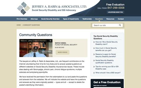 Screenshot of FAQ Page rabinsslaw.com - Community Questions – Jeffrey A. Rabin & Associates, Ltd. - captured Nov. 3, 2014