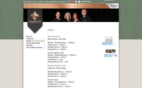 Screenshot of Hours Page obrfc.com - Hours | Oak Brook Racquet and Fitness Club - captured Oct. 27, 2014
