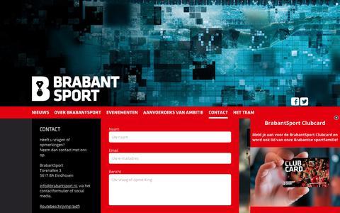 Screenshot of Contact Page brabantsport.nl - Contact » Brabantsport - captured Oct. 18, 2018