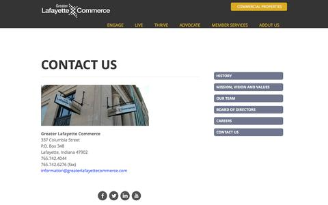 Screenshot of Contact Page greaterlafayettecommerce.com - Contact Us - Greater Lafayette Commerce | Lafayette, IN - captured June 23, 2016