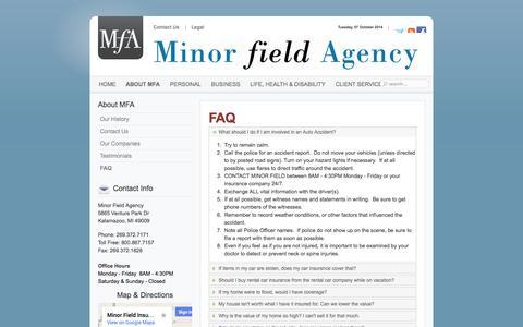 Screenshot of FAQ Page minorfield.com - FAQ - captured Oct. 7, 2014