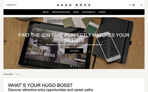 Screenshot of Jobs Page hugoboss.com - Your career in the fashion and lifestyle industry - HUGO BOSS Corporate Website - captured Nov. 16, 2018