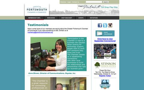 Screenshot of Testimonials Page portsmouthchamber.org - Greater Portsmouth Chamber of Commerce - captured Sept. 25, 2014