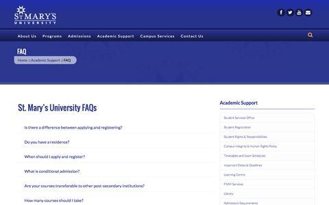 Screenshot of FAQ Page stmu.ca - FAQ | St. Mary's University - St. Mary's University - captured Feb. 26, 2016