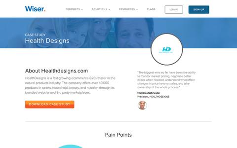 Screenshot of Case Studies Page wiser.com - Wiser Success Stories | HealthDesigns - captured Oct. 20, 2016