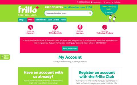 Screenshot of Login Page frillo.co.uk - Customer Login - captured June 6, 2017