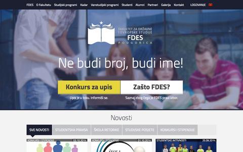 Screenshot of Home Page fdes.me - Fakultet za državne i evropske studije - captured Oct. 5, 2014