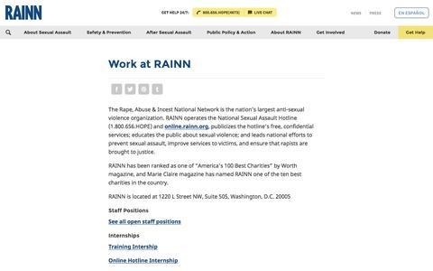Screenshot of Jobs Page rainn.org - Work at RAINN | RAINN - captured Aug. 12, 2016