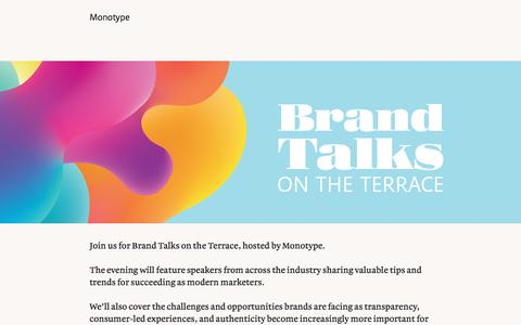 Screenshot of Landing Page monotype.com - Brand Talks on the Terrace | Monotype - captured Sept. 19, 2018