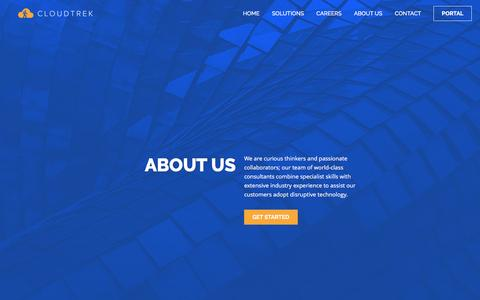 Screenshot of About Page cloudtrek.com.au - About Us   Innovate, Differentiate, Disrupt. - captured May 18, 2017