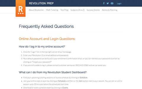 FAQ - Revolution Prep