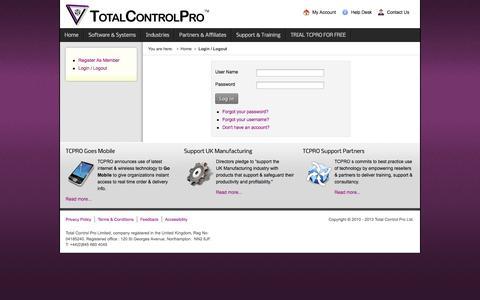 Screenshot of Login Page totalcontrolpro.com - Login / Logout - captured Oct. 7, 2014