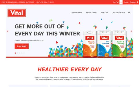 Screenshot of Home Page vital.co.za - Vital - Vitamins, Supplements & Health Foods - captured July 6, 2017