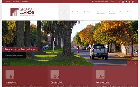 Screenshot of Home Page grupollanos.com.ar - Grupo Llanos | Inmuebles, Desarrollos y Arquitectura - captured Sept. 30, 2014