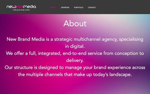 Screenshot of About Page newbrandmedia.com - New Brand Media   About - captured Oct. 9, 2014