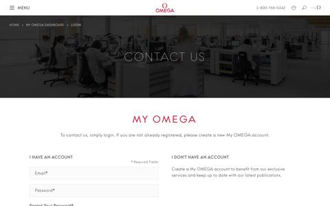 Screenshot of Contact Page omegawatches.com - Customer Login  | OMEGA® - captured July 13, 2019