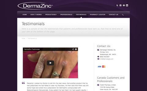Screenshot of Testimonials Page dermalogix.com - DermaZinc™ Testimonials - Real Life Results Using DermaZinc™ - captured Oct. 5, 2014