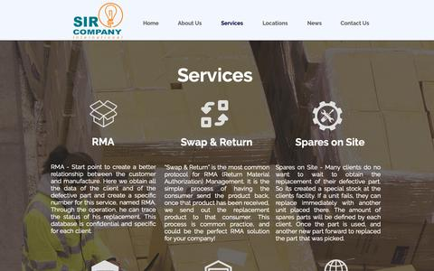 Screenshot of Services Page sirinternational.com - Sirinternational | Services - captured Sept. 30, 2018
