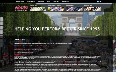 Screenshot of About Page shotz1.com - About Us | Shotz Sports Nutrition - captured Oct. 6, 2014