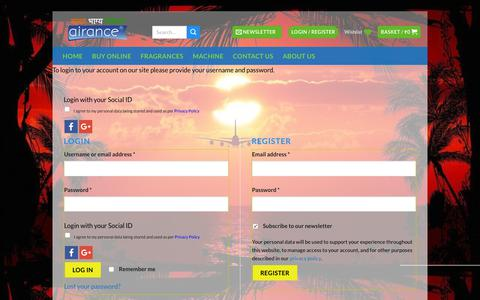 Screenshot of Login Page airance.com - Airance - Automatic Room Freshener Machine | Automatic Air Freshener Dispenser - captured Dec. 9, 2018