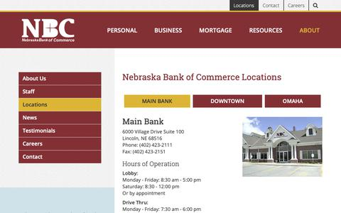 Screenshot of Locations Page thenbcbank.com - Nebraska Bank of Commerce Locations | NBC Bank - Nebraska Bank of Commerce, Lincoln & Omaha - captured Oct. 20, 2018