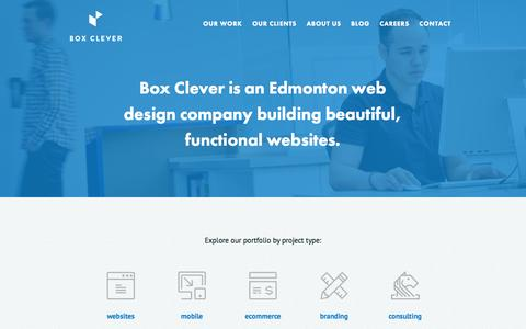 Screenshot of Home Page boxclever.ca - Box Clever: Edmonton Web Design & Digital Media Agency - captured Sept. 19, 2014