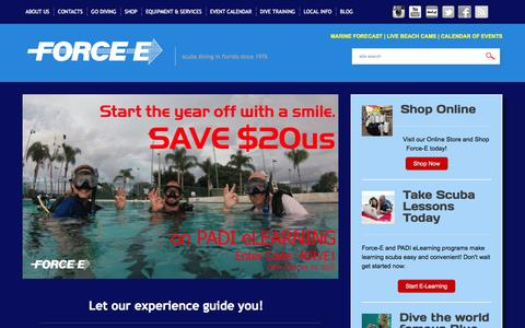Screenshot of Home Page force-e.com - Force-E | Scuba Diving in Florida Since 1976 - captured Jan. 26, 2015