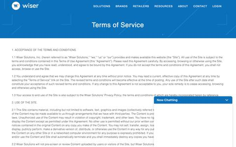 Screenshot of Support Page Terms Page wiser.com - Terms of Service | Wiser - captured Nov. 27, 2018