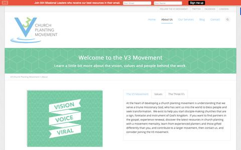 Screenshot of About Page thev3movement.org - About | V3 Church Planting Movement - captured Oct. 27, 2014