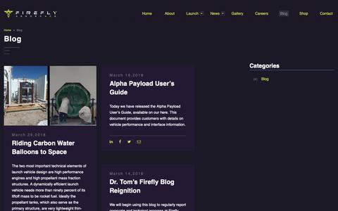 Screenshot of Blog fireflyspace.com - Blog – Firefly Aerospace - captured Nov. 14, 2018