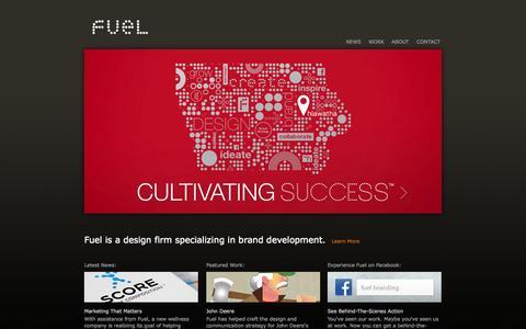 Screenshot of Home Page fuel-inc.com - Fuel Inc. | Iowa Design and Branding - captured Sept. 26, 2014
