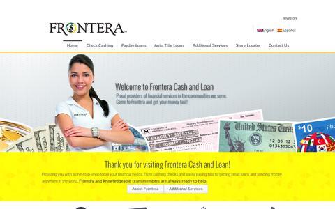 Screenshot of Home Page fronterainvestment.com - fronteracashandloan.com - captured Oct. 6, 2014