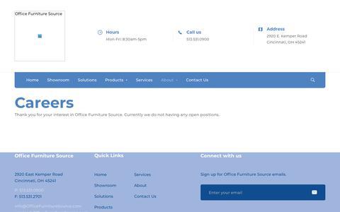 Screenshot of Jobs Page officefurnituresource.com - Careers - Office Furniture Source - captured Jan. 9, 2020