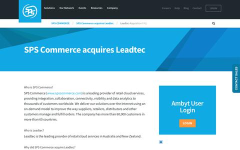 Screenshot of FAQ Page spscommerce.com - Leadtec Acquisition FAQ | SPS Commerce - captured April 1, 2018