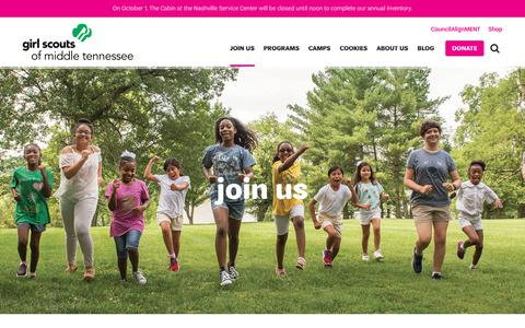 Screenshot of Signup Page gsmidtn.org - Join Us   Girl Scouts of Middle Tennessee - captured Sept. 28, 2018