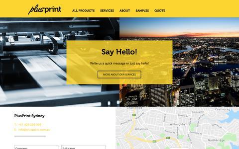 Screenshot of Contact Page plusprint.com.au - PlusPrint | Contact Us - captured July 20, 2018