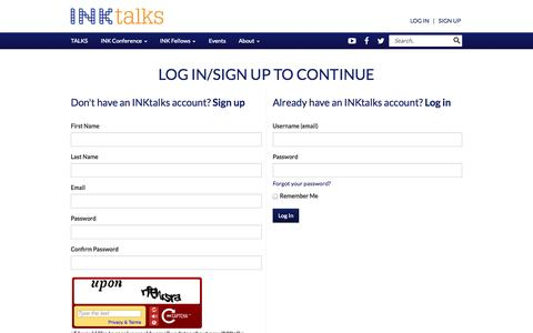 Screenshot of Signup Page inktalks.com - Innovational Talks | Inspirational Talks & Videos | Motivational Speakers - The INK Conference - The INK Conference - captured Oct. 29, 2014