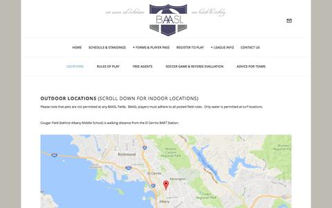 Screenshot of Locations Page baasl.org - Locations — Bay Area Adult Soccer League - captured Nov. 22, 2016