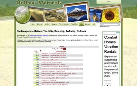Screenshot of Jobs Page outdoor-momente.com - Jobs rund um Outdoor, Camping, Reise und Touristik - captured Nov. 17, 2016