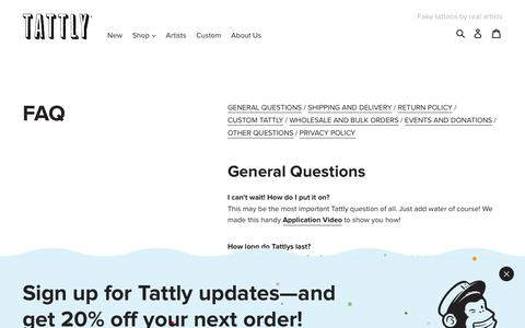 FAQ - TATTLY – Tattly Temporary Tattoos