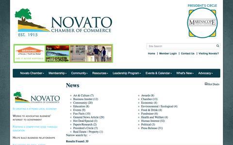 Screenshot of Press Page novatochamber.com - News - Novato Chamber of Commerce, CA - captured Dec. 12, 2016