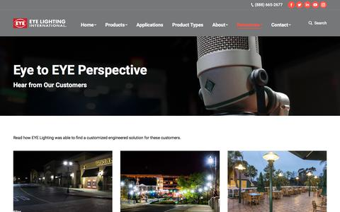 Screenshot of Testimonials Page eyelighting.com - eye to EYE Perspective – EYE Lighting - captured Sept. 26, 2018